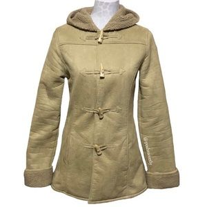 DKNY Faux Suede and Sherpa Hooded Toggle Coat